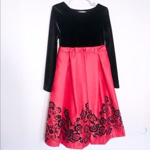 RARE EDITIONS  RED BLACK FLORAL TEA-LENGTH DRESS